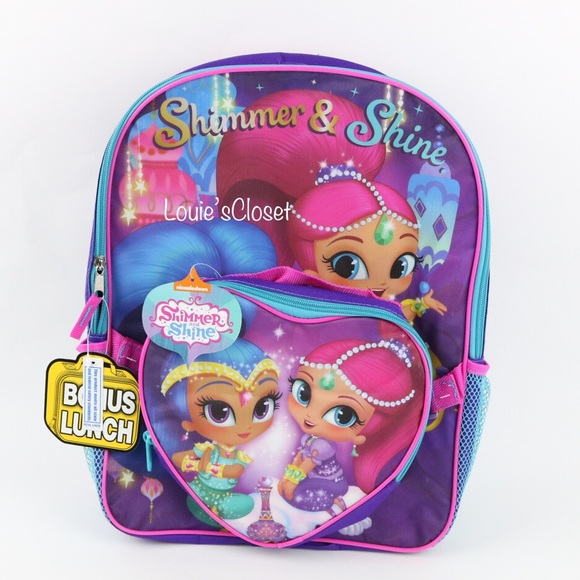 Nickelodeon Accessories   Shimmer Shine Backpack W Heart Shape Lunch ... 8022678213